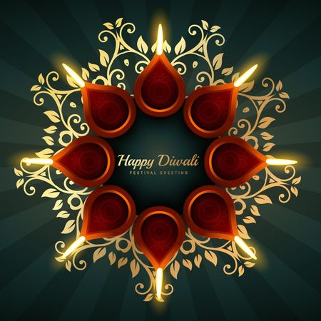 diwali greeting background design with floral ornaments