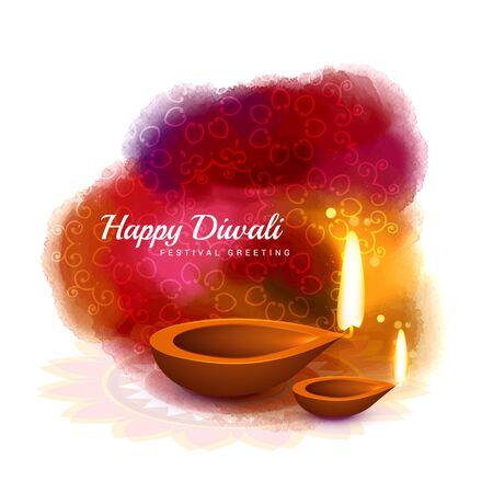 diya: happy diwali colorful design with diya in watercolor style Illustration