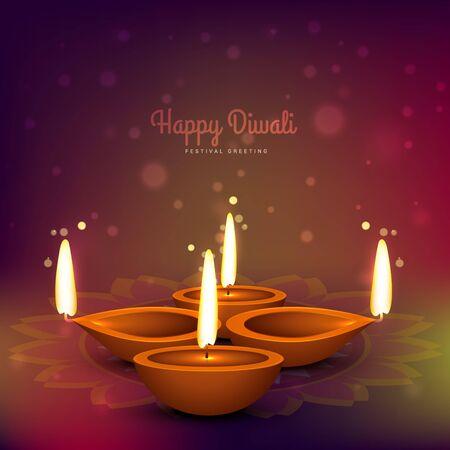 diya: diwali diya place on colorful background design Illustration