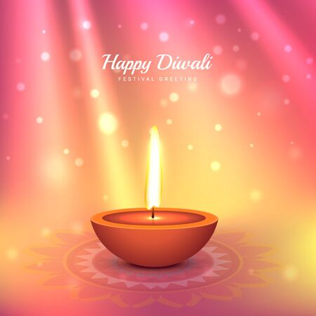 beautiful indian diwali festival greeting design Illustration