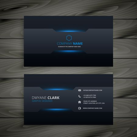 business card layout: dark business card template Illustration