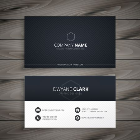 business card layout: clean dark business card