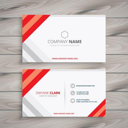 white red business card template Vektorové ilustrace