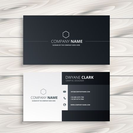black and white business card