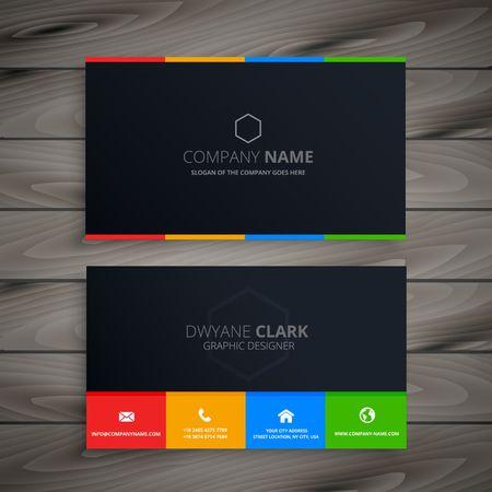 dark clean business card Vettoriali