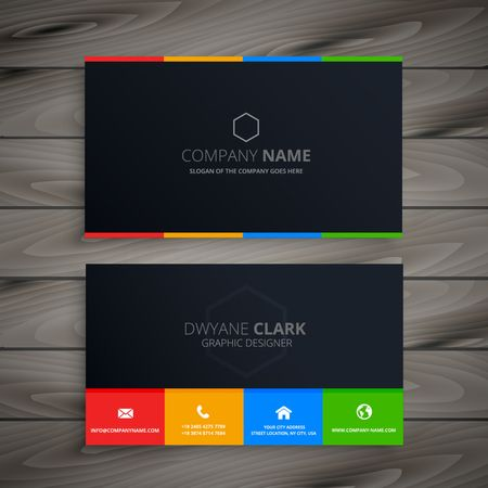 dark clean business card Çizim