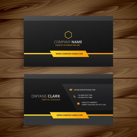 business card template: dark black business card Illustration