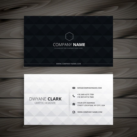 simple black and white diamond business card