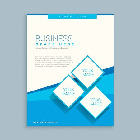 magazine design: abstract business brochure design in blue white colors