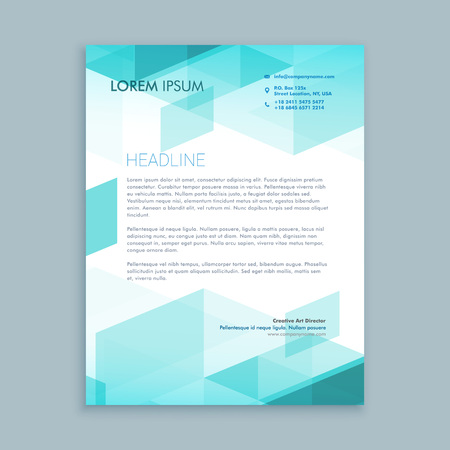 creative modern letterhead template with abstract shapes 向量圖像