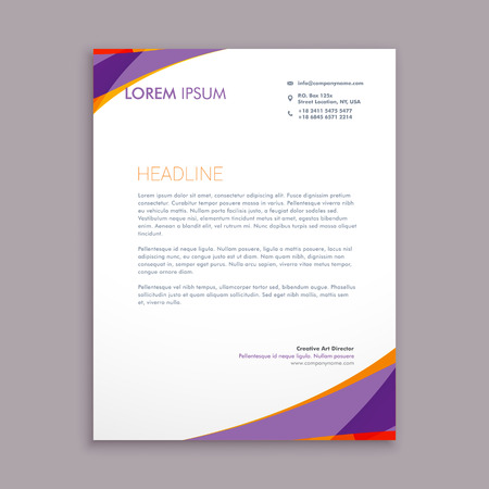 stylish purple wave letterhead design