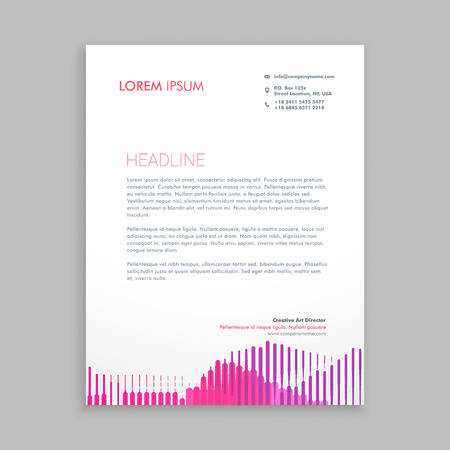 pink stripes: letterhead design with pink stripes