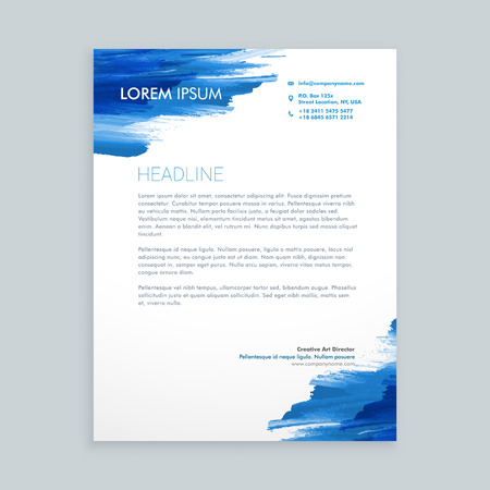 blue flowing ink letterhead template