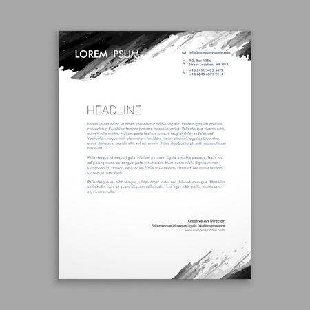 splash page: creative black ink letterhead design