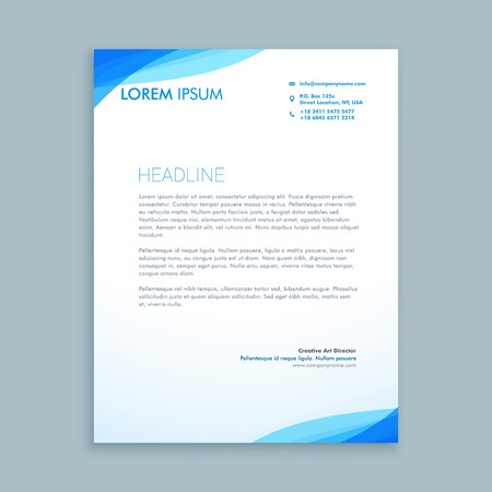 corporate blue wave letterhead design