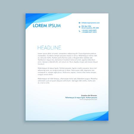 corporate blue wave letterhead design