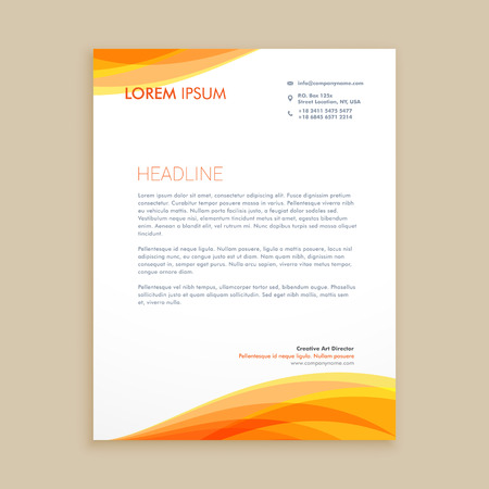 yellow wave creative letterhead