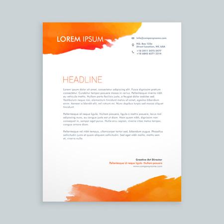 letterhead: creative orange ink letterhead design
