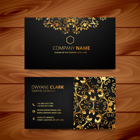 stylish golden premium luxury business card template design Vectores
