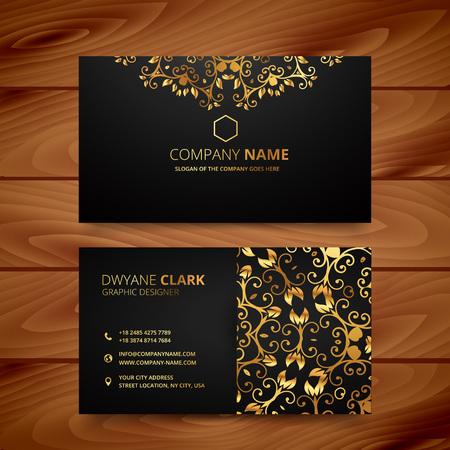 Stylowy Złoty Premium luksusowe szablon wizytówka projekt