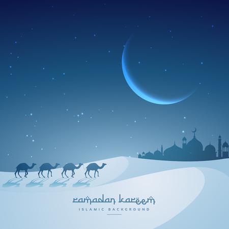 masjid: camel walking towards masjid ramadan kareem festival greeting