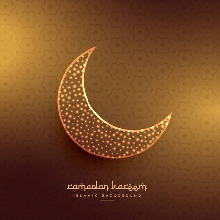 mohammad: beautiful moon design in golden background Illustration