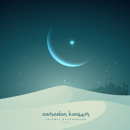 sand dunes: ramadan kareem islamic festival with moon and sand dunes