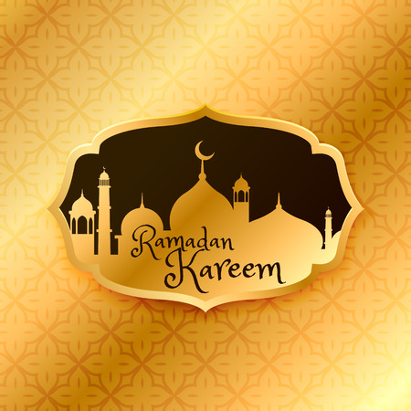 masjid: beautiful ramadan kareem greeting with golden mosque and pattern
