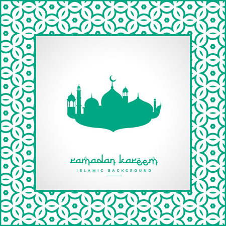 mohammad: ramadan festival greeting with mosque and pattern frame