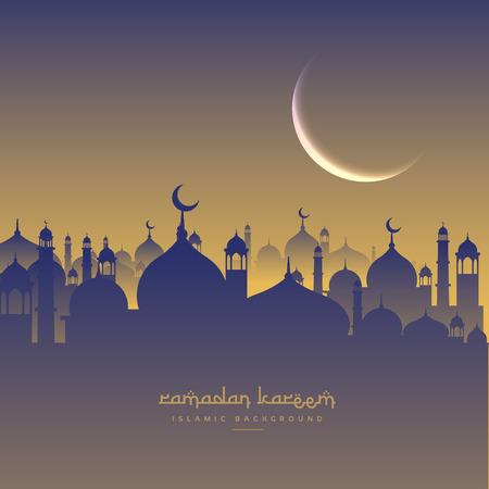 masjid: islamic  ramadan festival with moon and masjid Illustration