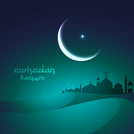 sand dunes: ramadan greeting with sand dunes and mosque Illustration