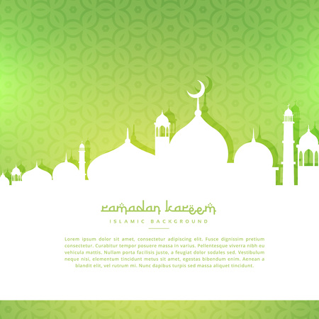 silhoutte: mosque silhoutte in green pattern background Illustration
