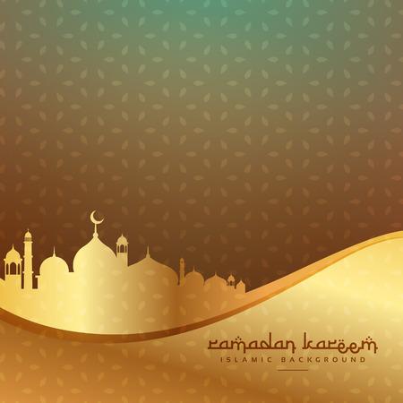 黄金のモスクと美しいイスラムの背景  イラスト・ベクター素材