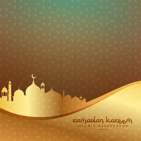 beautiful islamic background with golden mosque Ilustracja
