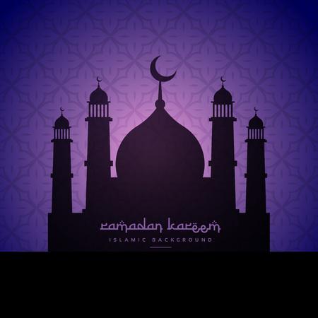 masjid: mosque silhouette design in purple pattern background