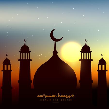 evening sky: mosque shape in evening sky with sun