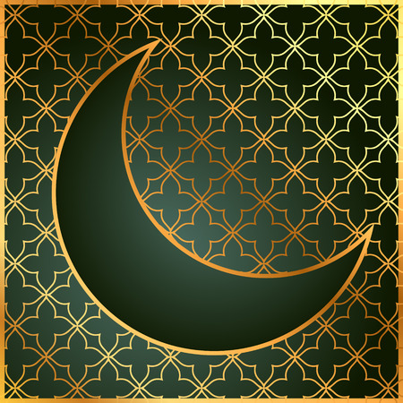 mohammad: pattern background with moon in golden color