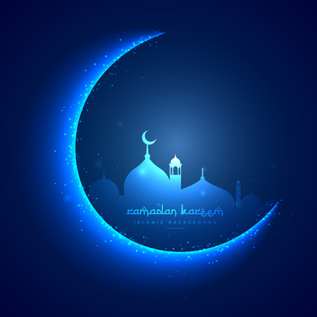 masjid: eid greeting card with moon and masjid Illustration