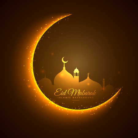 mohammad: golden moon and mosque eid festival background