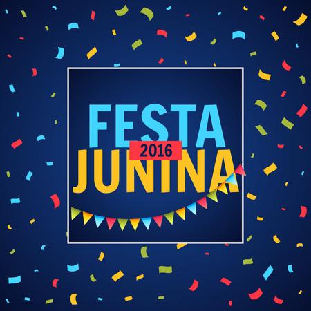 june: June Festival party with confetti Illustration