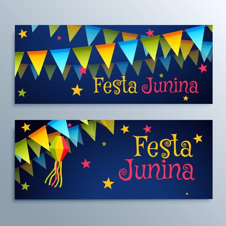 june: June Festival holiday banners set Illustration