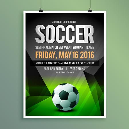 soccer game flyer template design Ilustração