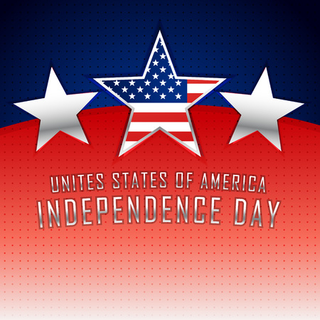 american history: american independence day background with three silver stars Illustration