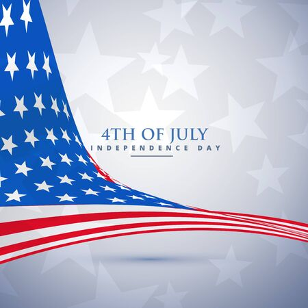 4 star: american flag in wave style. 4th of july background