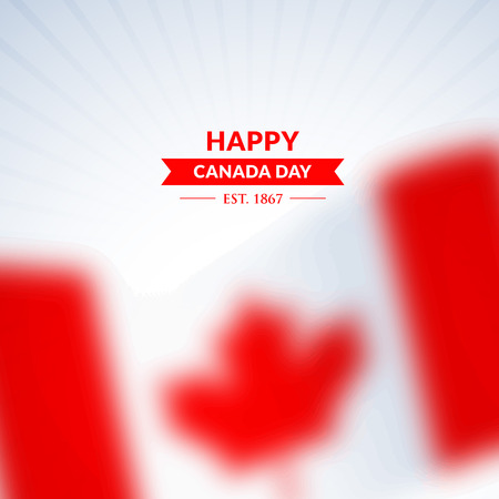 happy canada day background with blurred flag Illustration