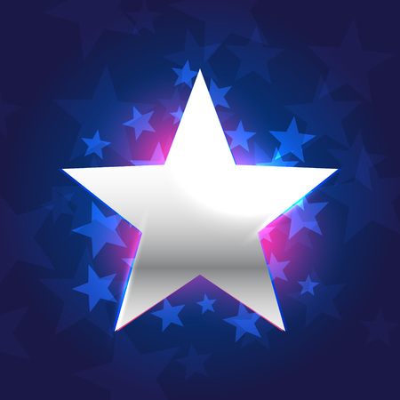 silver star: silver star in blue background Illustration
