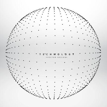 esfera hecha con puntos de punto negro