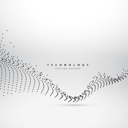 digital background: digital mesh wave technology background Illustration