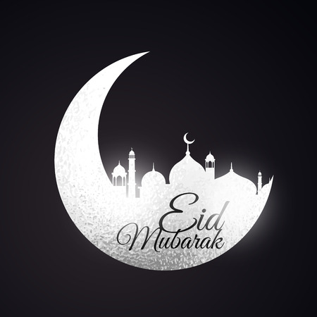 mohammad: eid festival background with moon and mosque