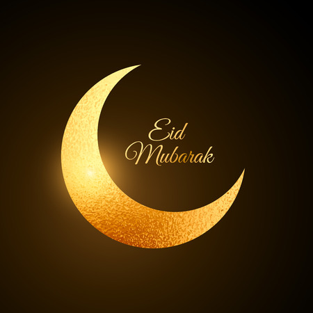 greetings card: golden eid festival moon background